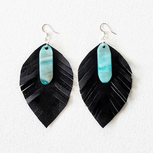 handmade leather and stone leaves earrings